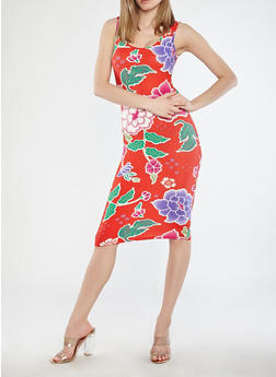 Tropical Print Tank Dress - 1094015050384