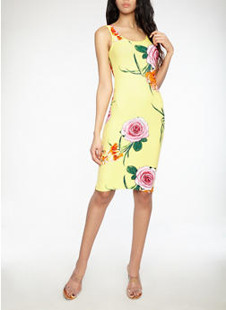 Tropical Print Bodycon Dress - 1094015050384