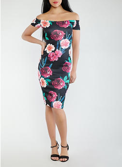 Floral Scuba Off the Shoulder Dress - 1094015050396