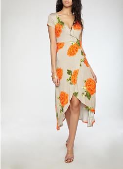 Floral Faux Wrap Maxi Dress - TUFFET - 1094015050409