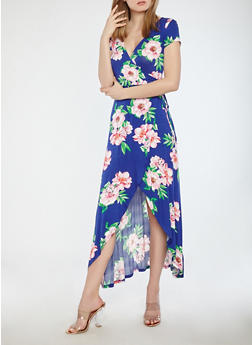 Floral Faux Wrap Maxi Dress - 1094015050409