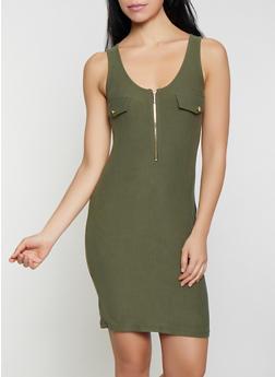 Zip Neck Bodycon Tank Dress - 1094015050415