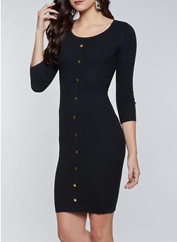 Snap Detail Rib Knit Sweater Dress - 1094015050537