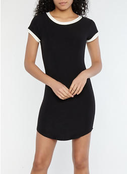Soft Knit Contrast Trim T Shirt Dress - 1094015050688