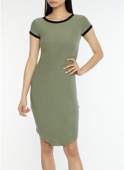 Soft Knit Contrast Trim T Shirt Dress - 1094015050689