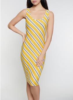 Diagonal Stripe Soft Knit Tank Dress - 1094015051134