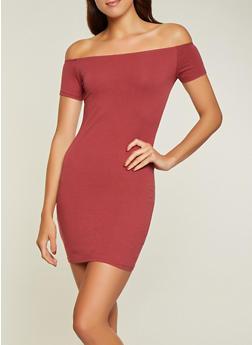 Solid Off the Shoulder Mini Dress - 1094015051309