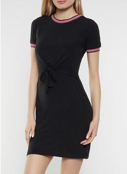 Contrast Trim Tie Front Overlay Dress - 1094034280236