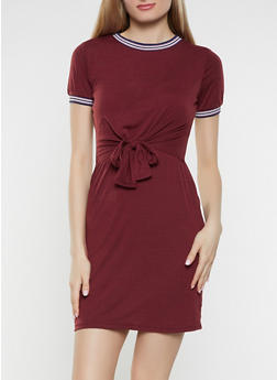 Contrast Trim Tie Front Overlay Dress - 1094034280236