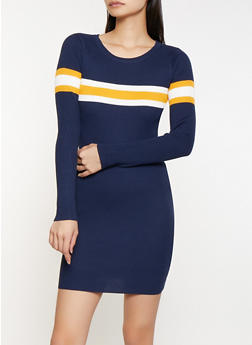 Rib Knit Stripe Detail Sweater Dress - 1094034280322