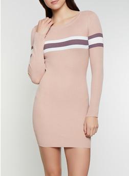 Rib Knit Stripe Detail Sweater Dress - 1094034280322