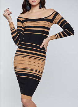 Striped Off the Shoulder Sweater Dress - 1094034281060