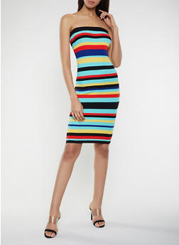 Striped Ribbed Knit Dress - 1094034281203