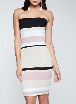 Color Block Ribbed Tube Dress - 1094034281273
