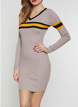 Stripe Detail Sweater Dress - 1094034281398