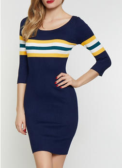 adc8efa80ee Stripe Detail Scoop Neck Sweater Dress - 1094034281494