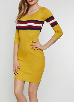 Stripe Detail Scoop Neck Sweater Dress - 1094034281494