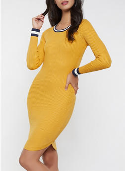Contrast Trim Sweater Dress - 1094034281653