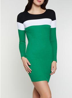 Color Block Sweater Dress - 1094034281659