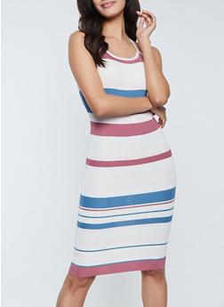 Criss Cross Back Striped Cami Dress - 1094034281834