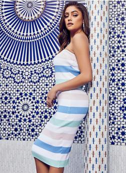 Striped Rib Knit Tube Dress - 1094034281836