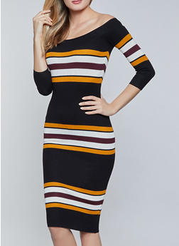 Striped Midi Sweater Dress - 1094034282191