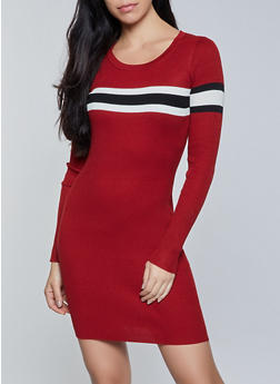 Stripe Detail Mini Sweater Dress - 1094034282192