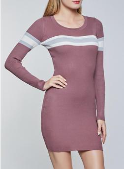 Stripe Detail Mini Sweater Dress - 1094034282192