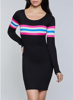 Stripe Detail Ribbed Knit Sweater Dress - 1094034282193