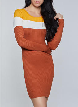 Color Block Long Sleeve Sweater Dress - 1094034282194