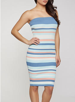 Striped Tube Midi Dress - 1094034282203