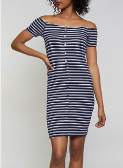 Striped Button Front Midi Dress - 1094034282702