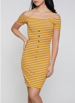 Striped Button Front Midi Dress - 1094034282702