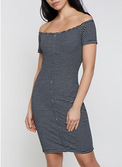 Striped Off the Shoulder Button Detail Dress - 1094034282810