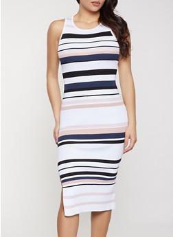 Striped Sleeveless Midi Rib Knit Dress - 1094034283524