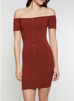 Off the Shoulder Rib Knit Dress - 1094034284741
