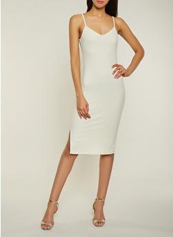 Ribbed Knit Side Slit Dress - 1094034285934