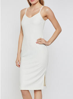 Ribbed Knit Side Slit Dress - 1094034285934