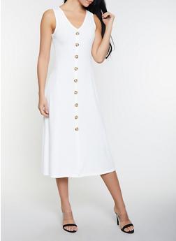 Ribbed Knit Button Detail Tank Dress - 1094034286382