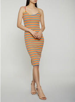 Striped Ribbed Knit Cami Dress - 1094034286705