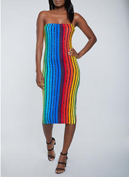 Rainbow Striped Tube Dress - 1094038340892