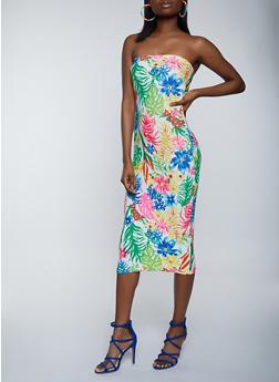 Tropical Print Tube Dress - 1094038340896