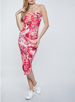 Printed Tube Midi Dress - 1094038340899