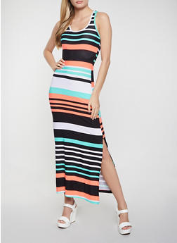 Striped Racerback Tank Maxi Dress - 1094038340920