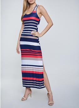 Striped Racerback Tank Maxi Dress - 1094038340920