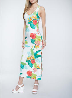 Tropical Floral Tank Maxi Dress - 1094038340922