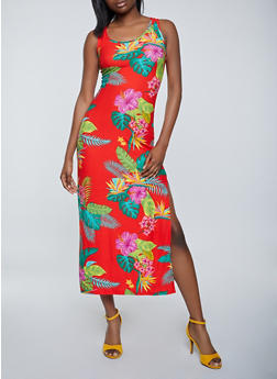 Tropical Floral Tank Maxi Dress - 1094038340922