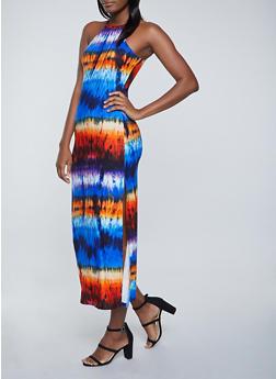 Printed High Neck Maxi Dress - 1094038340928