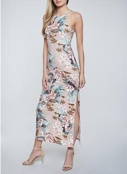 High Neck Floral Maxi Dress - 1094038340930