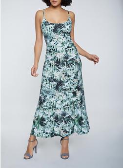Leaf Print Soft Knit Maxi Dress - 1094038340931